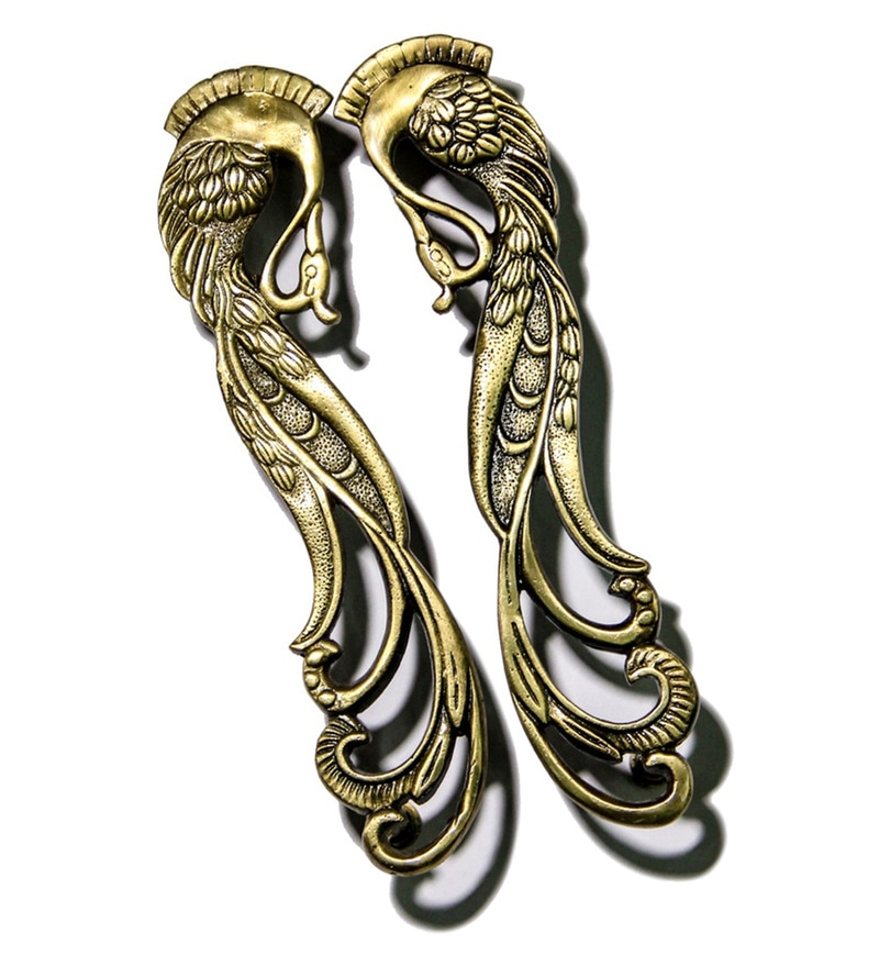 How To Change A Door Knob >> Buy Unravel India Peacock Brass Door Handle - Set of 2 Online - Door Handles - Door Hardware ...