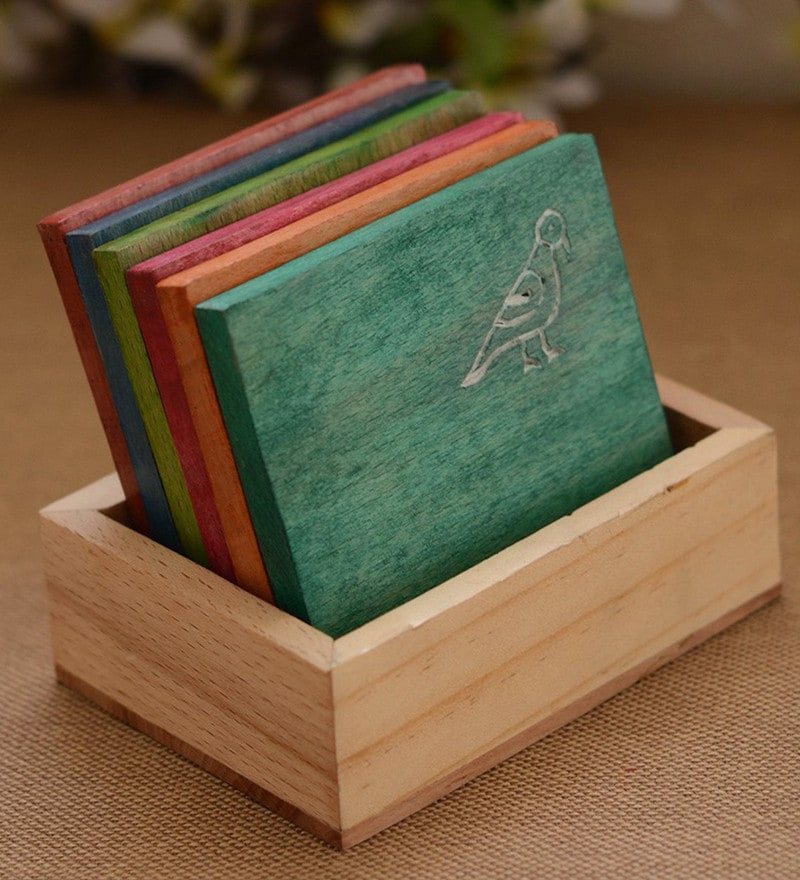 Unravel India Wooden Multi-Colour Coaster - Set of 6