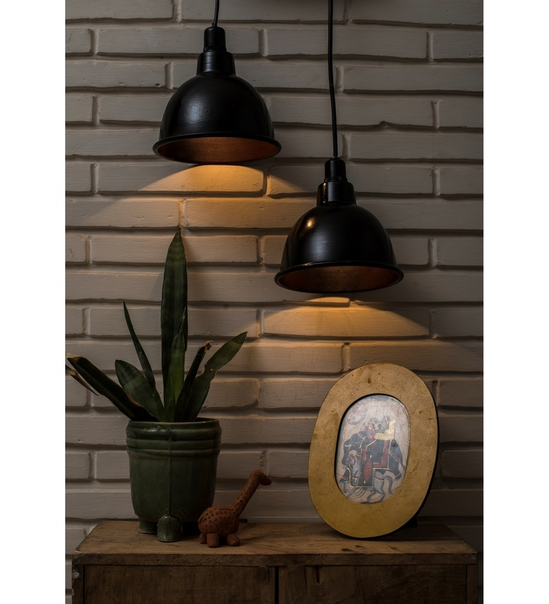 Black Metal Vintage Distressed Pendant by Untold Homes
