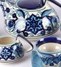 Unravel India 150 Moroccan Hand-painted Tea Set - Set of 15