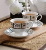 Unravel India Gold Print Bone China 200 ML Cup and Saucer - Set Of 6
