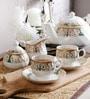 Unravel India Gold Print Bone China Tea Set - Set Of 15