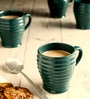 Unravel India Hand Crafted Green Stoneware 225 ML Coffee Mug - Set of 6