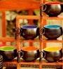Unravel India Studio Stoneware Cups & Saucers - Set of 6