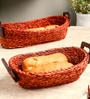 Unravel India Sabai Grass Basket Tray - Set of 2