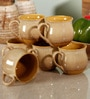 Unravel India Studio Pottery Brown & Yellow Stoneware 150 ML Cup & Saucer - Set of 6