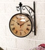 Unravel India Black Metal Vintage Style Station Wall Clock
