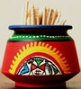 Unravel India Warli Red Painted Teracotta Toothpick Stand And Toothpick Set