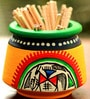 Unravel India Warli Yellow Painted Teracotta Toothpick Stand And Toothpick Set