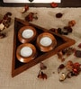 Unravel India Brown Wood Tealight Set with Tray - Set of 4