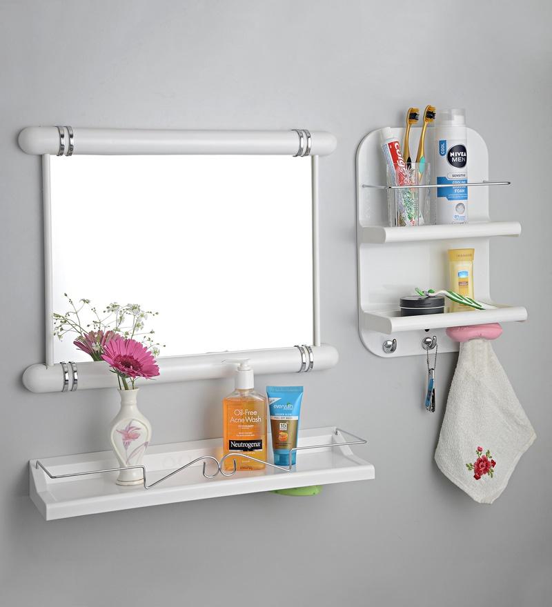 Upasana White Plastic Cabinet - Set of 3
