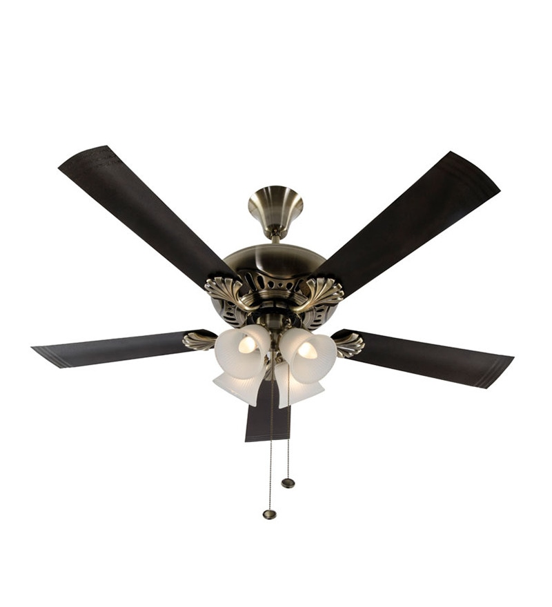 Usha Fontana Maple Antique Brass Ceiling Fan with Light