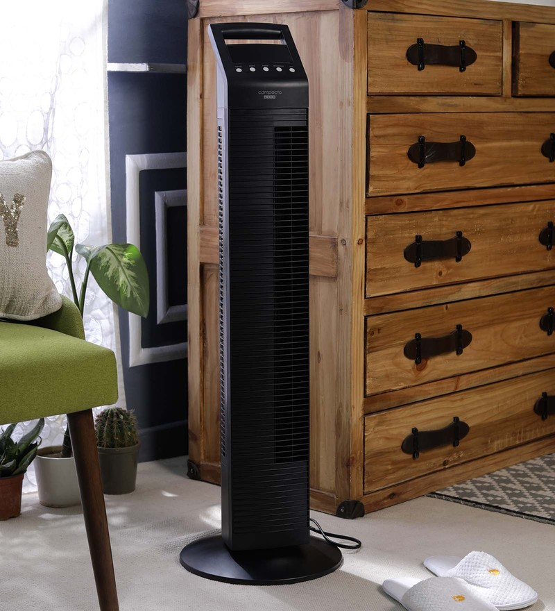 Usha Rense Black Plastic Tower Fan with Remote
