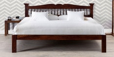 Uttara Handcrafted Solid Wood King Size Bed in Provincial Teak Finish