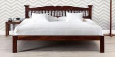 Uttara Handcrafted Solidwood Queen Bed in Provincial Teak Finish
