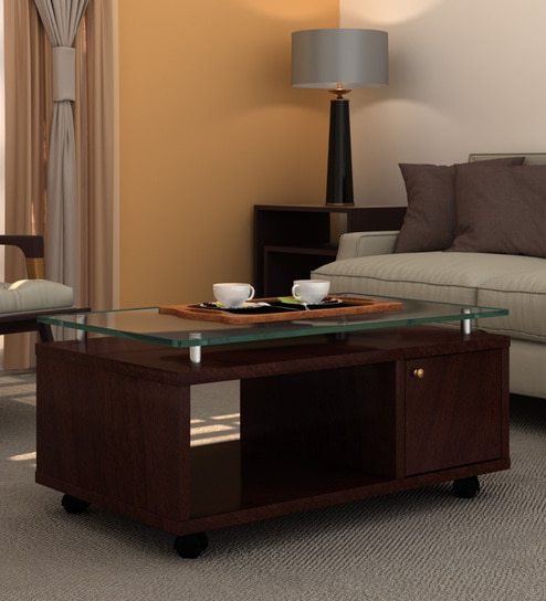 Utility Coffee Table With Gl Top In Ebony Finish By Ekbote Furniture