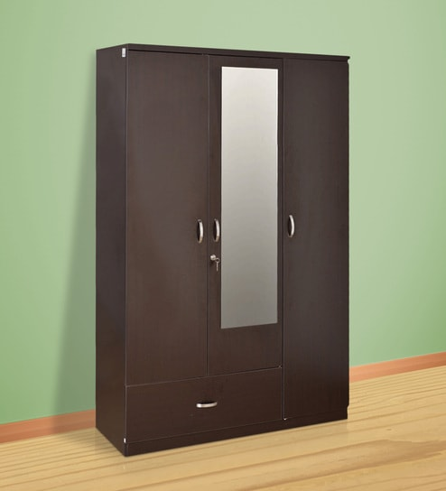 Buy Utsav Three Door Wardrobe With Mirror in Wenge Finish by