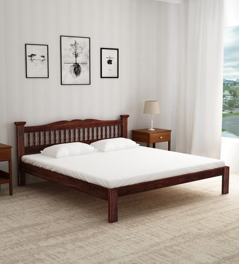 Buy Uttara Handcrafted Solid Wood King Size Bed In Provincial Teak