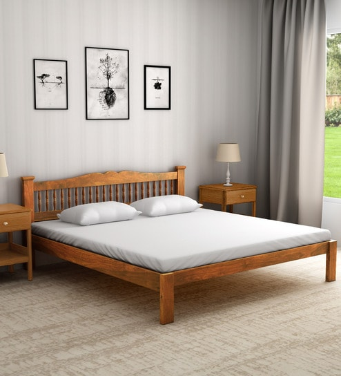 Pepperfry & Uttara Solid Wood King Size Bed in Rustic Teak Finish by Mudramark