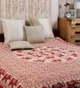 Bell Elephant Batik Print Red Cotton 90 x 83 Inch Bedsheet by Uttam