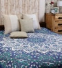 Big Star Handlook Print Blue Cotton Abstract 90 x 83 Inch Bedsheet by Uttam