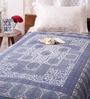 Uttam Indian Ethnic Blue Cotton 84 x 54 Inch Bed Sheet
