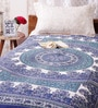 Uttam Indian Ethnic Blue Cotton 84 x 54 Inch Bed Sheet