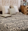 Uttam Cartoon Batik Print Single-Size Cotton Bedsheet in White & Black