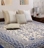 House Batik Print Blue Cotton Abstract 90 x 83 Inch Bedsheet by Uttam