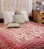 House Batik Print Red Cotton Abstract 90 x 83 Inch Bedsheet by Uttam