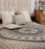 Round Elephant Batik Print Black Cotton 90 x 83 Inch Bed Sheet by Uttam