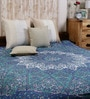 Small Star Handlook Print Blue Cotton Abstract 90 x 83 Inch Bed Sheet by Uttam