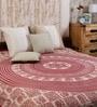 Uttam Square Elephant Batik Print Maroon Cotton 90 x 83 Inch Bedsheet
