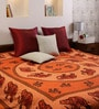 Square Elephant Print Orange Cotton 90 x 83 Inch Bedsheet by Uttam