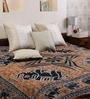Square Elephant Moon Batik Print Brown Cotton 90 x 83 Inch Bedsheet by Uttam