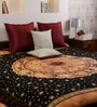 Uttam Tie-Dye Horoscope Print Brown Cotton 90 x 83 Inch Bedsheet