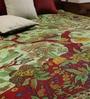 Uttam Tie-Dye Tree of Life Print Green Cotton 90 x 83 Inch Bedsheet