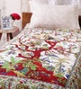 Uttam White Cotton Nature & Florals 84 x 54 Inch Bedsheet