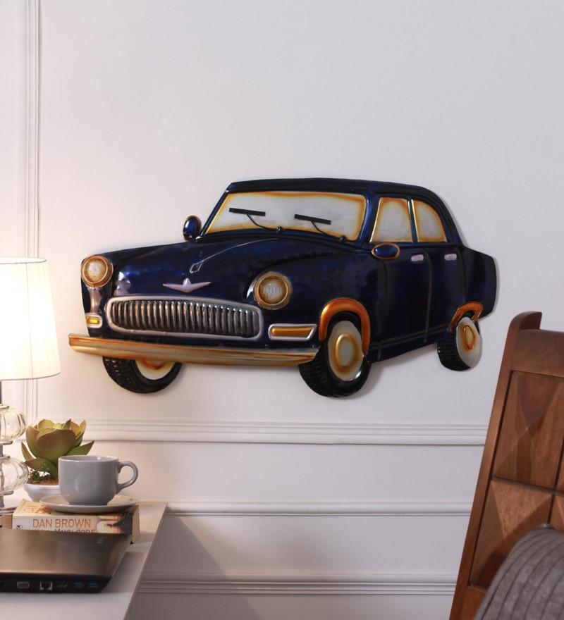 Buy V Decor Blue Metal Wall Fixing Blue Car Wall Hanging Online