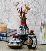 Madhubani Black, Gold and White Terracotta 3-piece Pot Set