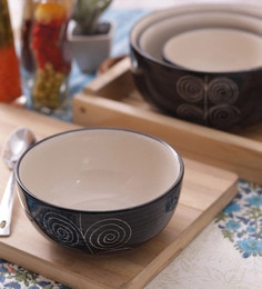 Vareesha Black Spiral Ceramic Large Serving Bowls - Set Of 4