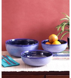 Vareesha Blue Marble Ceramic Bowls - Set Of 3
