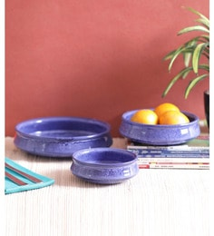 Vareesha Blue Marble Flat Ceramic Bowls - Set Of 3