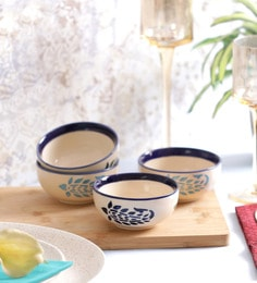 Vareesha Blue Paisley Ceramic Katori Bowls - Set Of 4