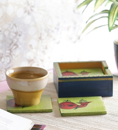 Vareesha Elephant Yellow & Blue Wooden Coasters With Holder - Set Of 6