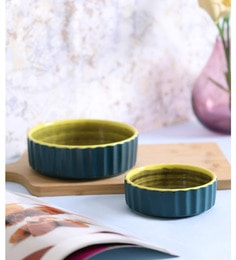 Vareesha Green & Yellow Serving Ceramic Bowls - Set Of 2