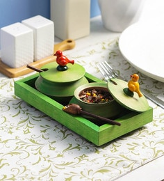 VarEesha Green Wooden Handis With Tray Mukhwas - Set Of 5