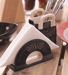 Vareesha Hand Crafted Black Spiral Ceramic Salt N Pepper Set With Cutlery Holder