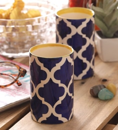 Vareesha Hand Made Blue Ceramic Glasses - Set Of 4