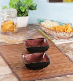 Vareesha Hand Painted Black & Purple Square Ceramic Bowls - Set Of 2